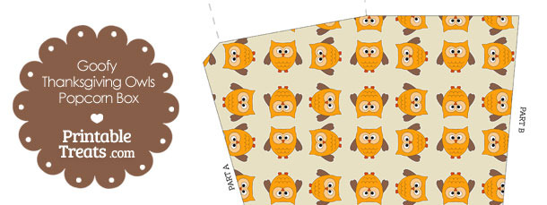 Goofy Thanksgiving Owls Popcorn Box