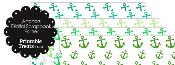 Green Anchor Digital Scrapbook Paper
