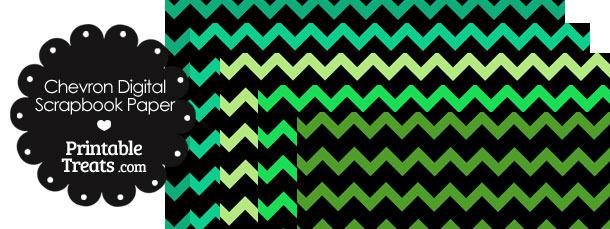 Green and Black Chevron Digital Scrapbook Paper