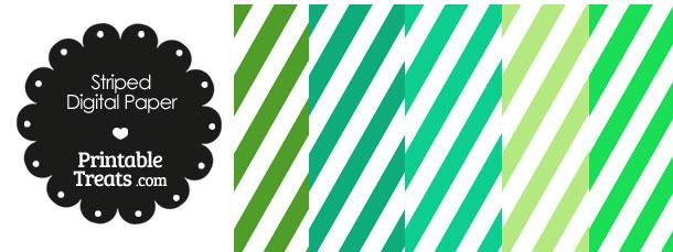Green and White Diagonal Striped Digital Scrapbook Paper