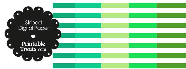 Green and White Horizontal Striped Digital Scrapbook Paper