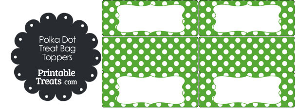 Green and White Polka Dot Treat Bag Toppers