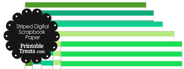 Green and White Striped Digital Scrapbook Paper