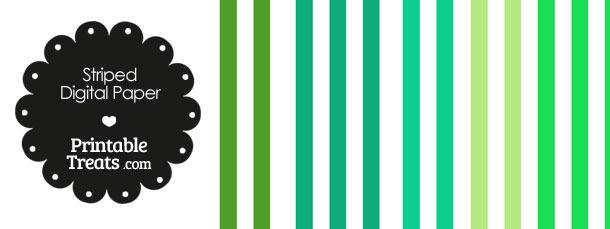 Green and White Vertical Striped Digital Scrapbook Paper