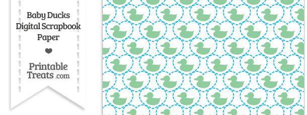 Green Baby Ducks Digital Scrapbook Paper