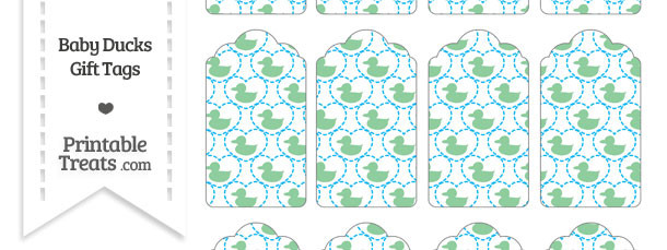 Green Baby Ducks Gift Tags
