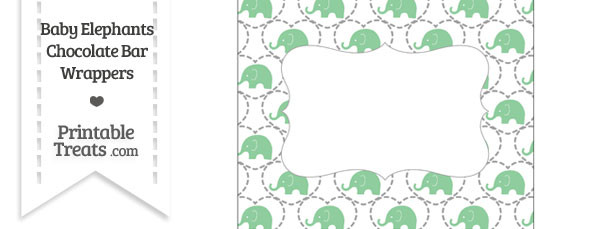 Green Baby Elephants Chocolate Bar Wrappers