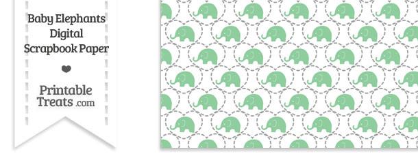 Green Baby Elephants Digital Scrapbook Paper