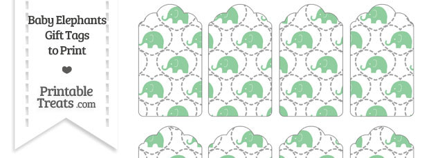 Green Baby Elephants Gift Tags