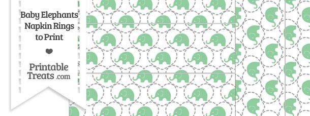 Green Baby Elephants Napkin Rings