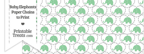 Green Baby Elephants Paper Chains