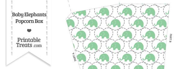 Green Baby Elephants Popcorn Box