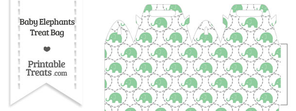 Green Baby Elephants Treat Bag