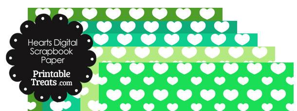 Green Background Heart Digital Scrapbook Paper