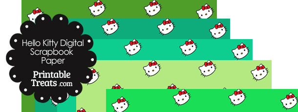 Green Background Hello Kitty Digital Scrapbook Paper