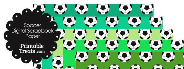 Green Background Soccer Digital Scrapbook Paper