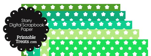 Green Background Star Digital Scrapbook Paper