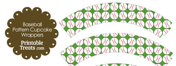 Green Baseball Pattern Cupcake Wrappers