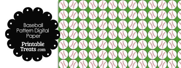Green Baseball Pattern Digital Scrapbook Paper