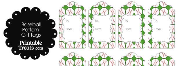 Green Baseball Pattern Gift Tags