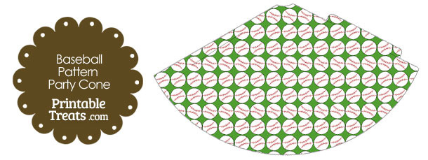 Green Baseball Pattern Party Cone