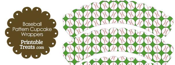 Green Baseball Pattern Scalloped Cupcake Wrappers