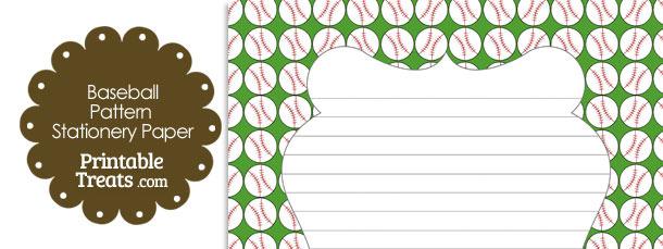 Green Baseball Pattern Stationery Paper