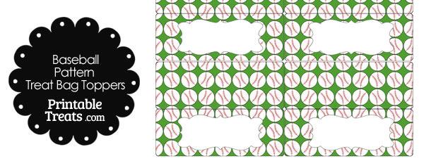 Green Baseball Pattern Treat Bag Toppers