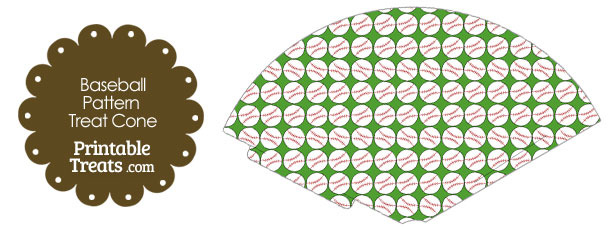 Green Baseball Pattern Treat Cone
