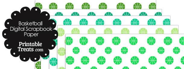 Green Basketball Digital Scrapbook Paper