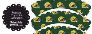 Green Bay Packers Football Helmet Scalloped Cupcake Wrappers