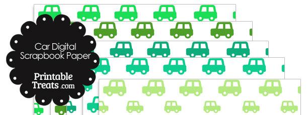 Green Car Digital Scrapbook Paper