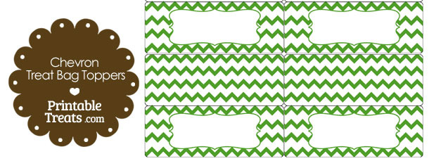 Green Chevron Treat Bag Toppers