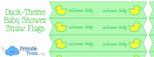 free-green-duck-baby-shower-straw-flags.
