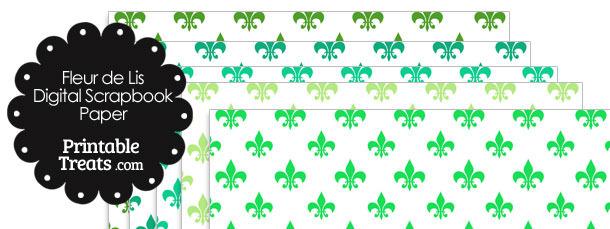 Green Fleur de Lis Digital Scrapbook Paper