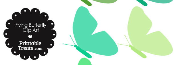 Green Flying Butterfly Clipart
