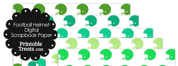 Green Football Helmet Digital Scrapbook Paper