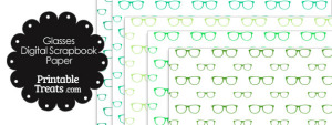Green Glasses Digital Scrapbook Paper
