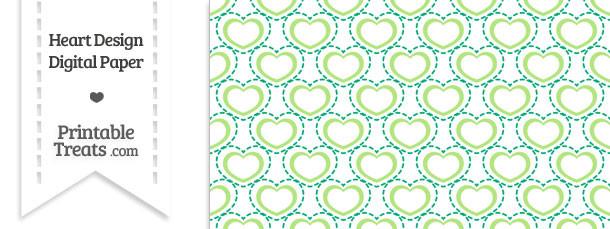 Green Heart Design Digital Scrapbook Paper