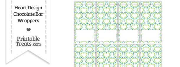 Green Heart Design Mini Chocolate Bar Wrappers