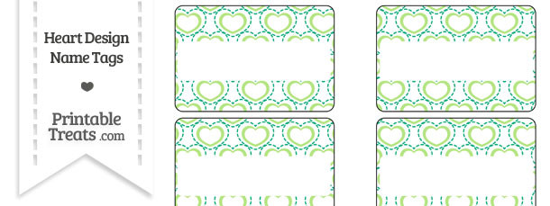 Green Heart Design Name Tags