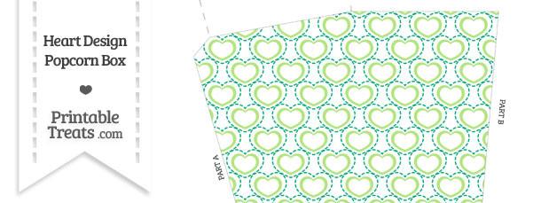 Green Heart Design Popcorn Box