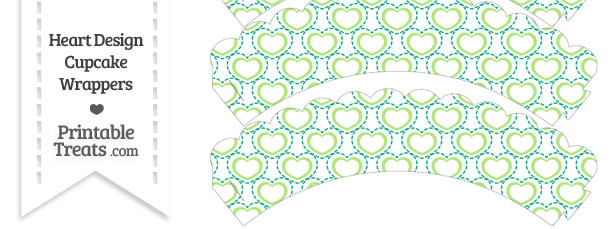 Green Heart Design Scalloped Cupcake Wrappers
