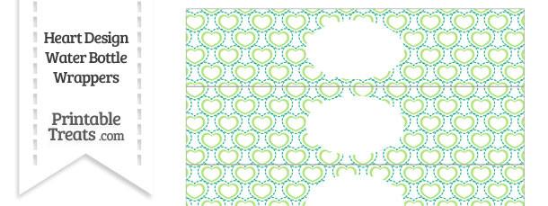 Green Heart Design Water Bottle Wrappers