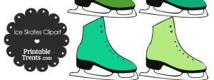 Green Ice Skates Clipart