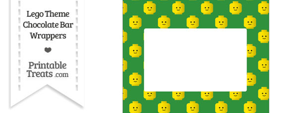 Green Lego Theme Chocolate Bar Wrappers