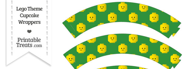 Green Lego Theme Cupcake Wrappers