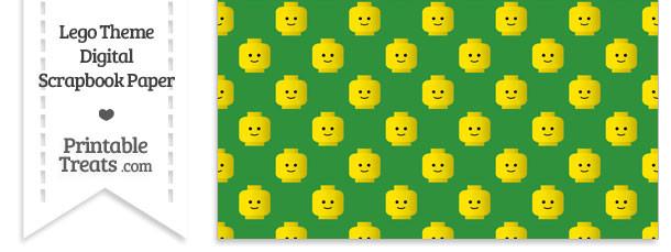 Green Lego Theme Digital Scrapbook Paper
