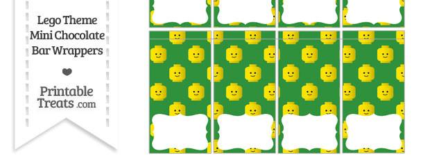 Green Lego Theme Mini Chocolate Bar Wrappers