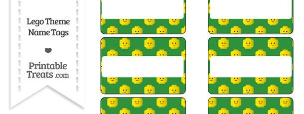 Green Lego Theme Name Tags